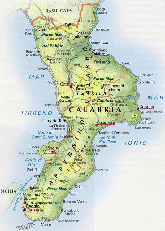 Cartina Geografica Della Calabria Fisica.Cartina Geografica Della Calabria Mappa Carta