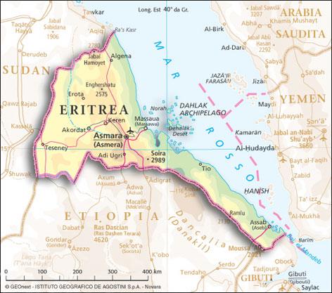 Cartina geografica mappa Eritrea