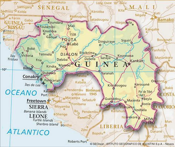 Guinea Cartina Geografica.Cartina Geografica Mappa Guinea