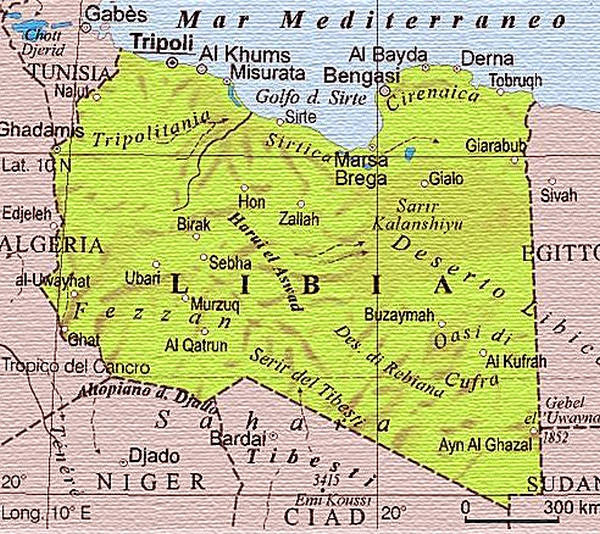 Mediterraneo Cartina Geografica.Cartina Geografica Mappa Libia