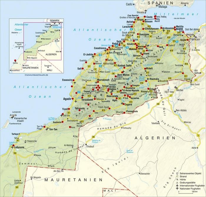 Cartina Politica Del Marocco.Cartina Geografica Mappa Del Marocco