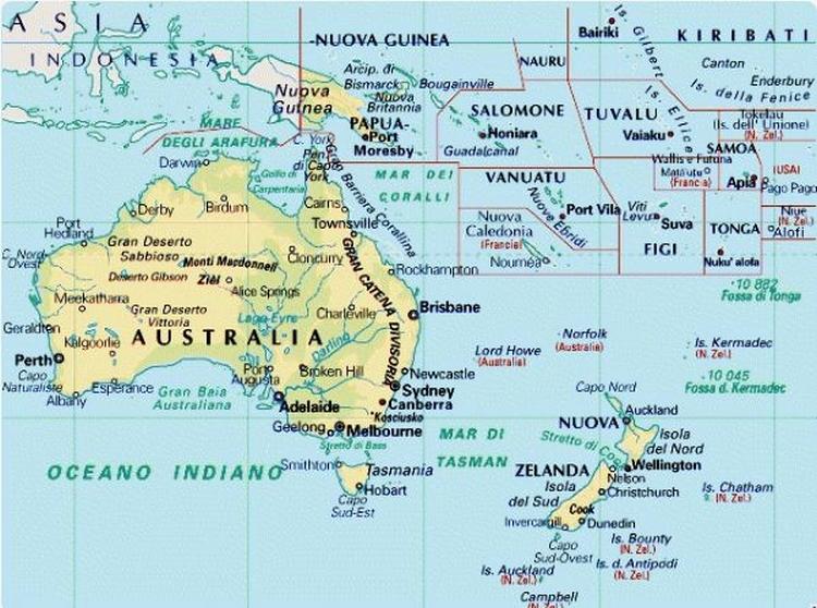 Cartina Geografica Dell Australia.Cartina Geografica Mappa Dell Australia Oceania