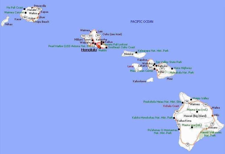 Cartina Mondo Hawaii.Cartina Geografica Mappa Delle Isole Hawaii