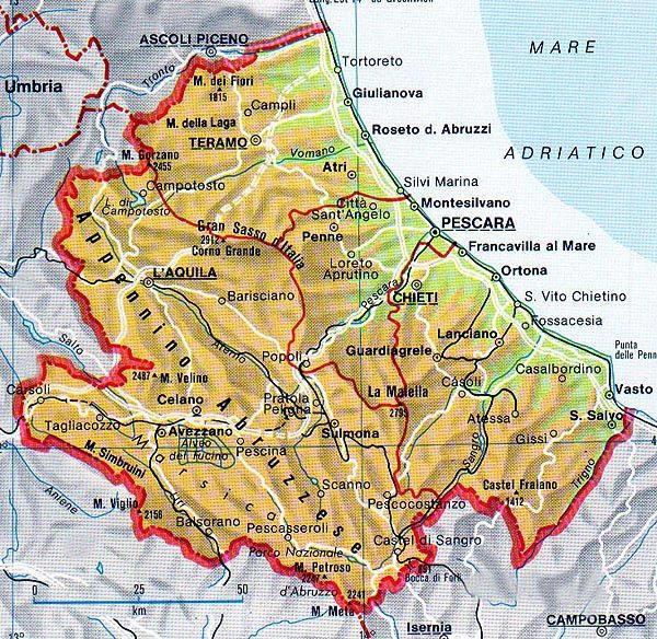 Cartina Puglia E Molise.Cartina Geografica Della Regione Abruzzo Mappa O Carta