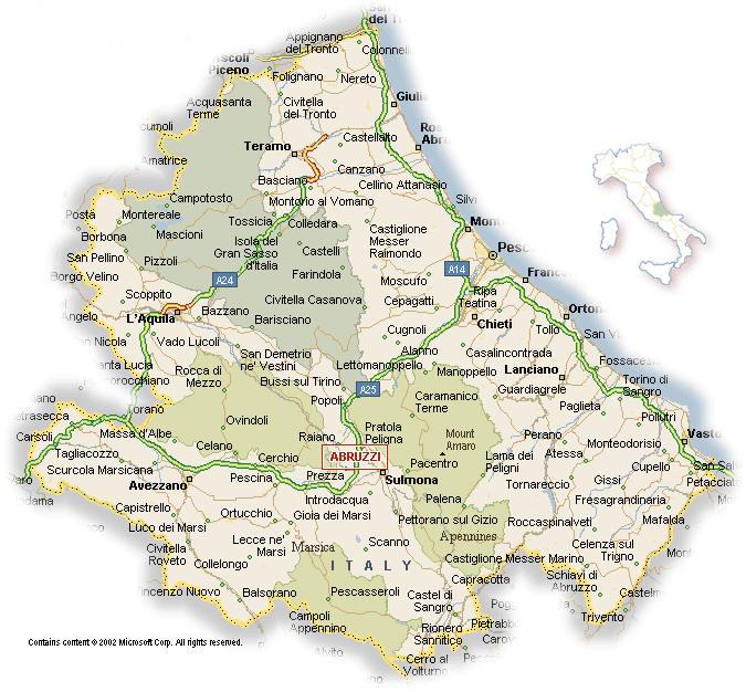 Abruzzo Cartina Politica Dettagliata.Cartina Geografica Politica Della Regione Abruzzo Mappa O Carta
