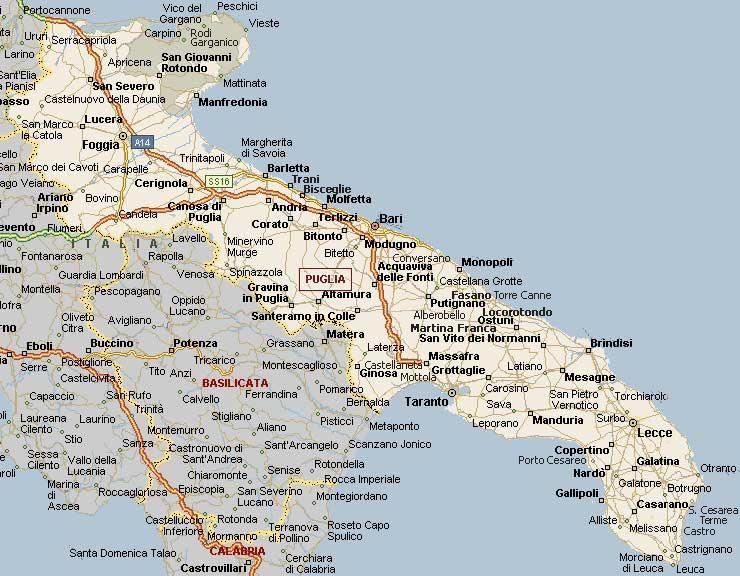 Cartina Calabria E Puglia.Cartina Geografica Della Regione Puglia Mappa O Carta