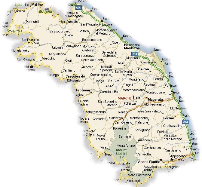 Cartina Geografica Delle Marche.Cartina Geografica Della Regione Marche Mappa O Carta