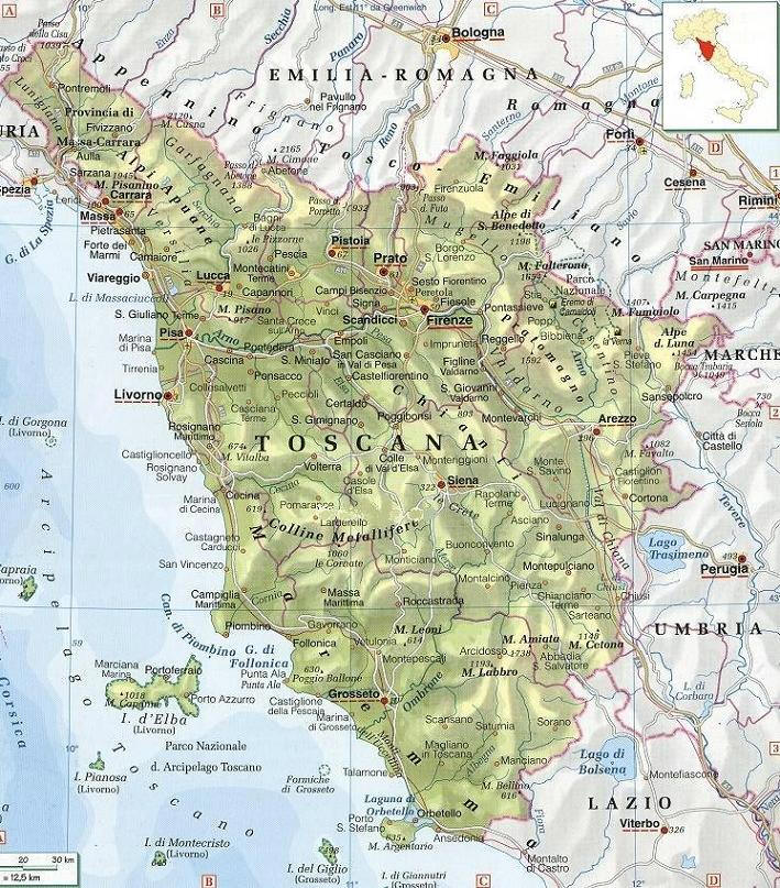 Cartina Toscana Dettagliata.Cartina Geografica Della Regione Toscana Mappa O Carta