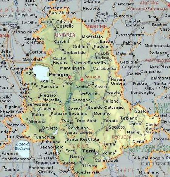 Cartina Stradale Umbria Toscana.Cartina Geografica Della Regione Umbria Mappa O Carta