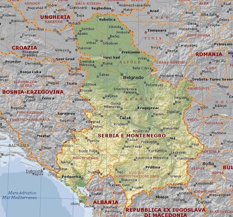 Alba Cartina Geografica.Cartina Geografica Del Serbia Mappa O Carta Mapa Map Of Serbia