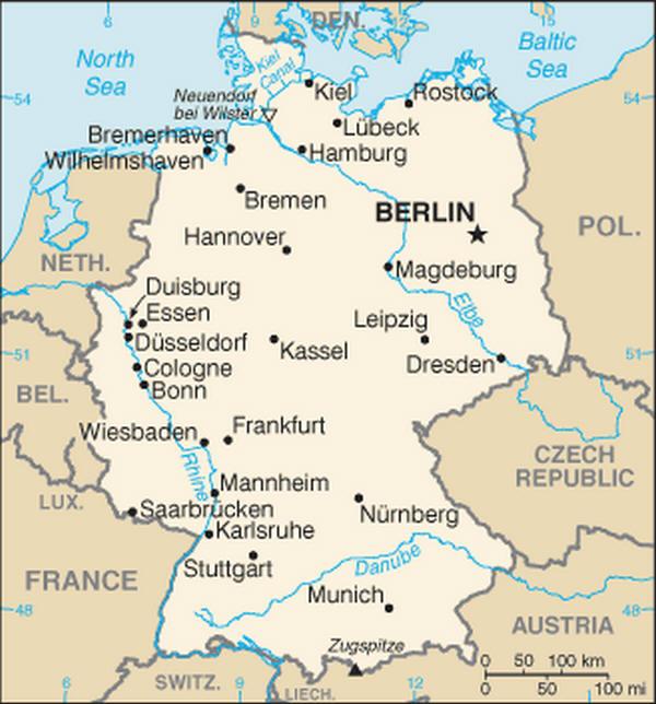 La Cartina Geografica Della Germania.Cartina Geografica Germania Mappa O Carta Mapa Map Of