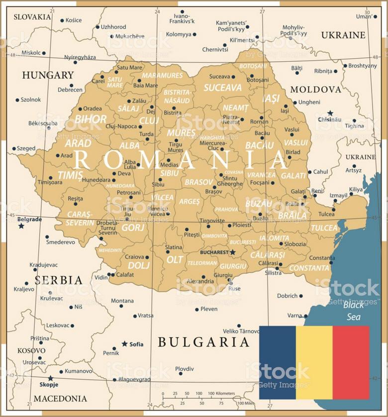 Romania Cartina Stradale.Cartina Geografica Della Romania Mappa Carta Bucarest