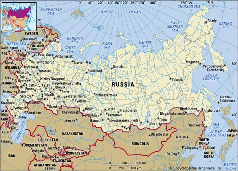 La Cartina Della Russia.Cartina Geografica Della Russia Mappa Carta Mosca