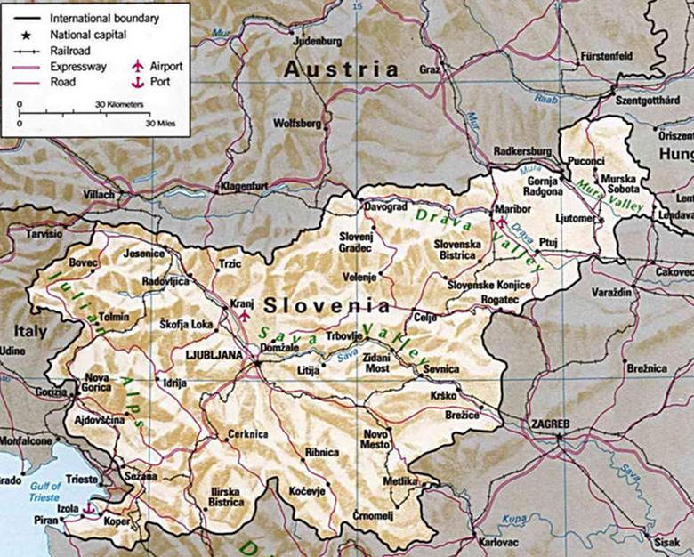Cartina Slovenia Stradale.Cartina Geografica Della Slovenia Mappa Carta Slovenia
