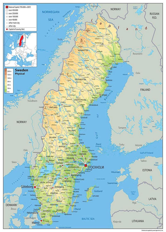 Cartina Della Svezia.Cartina Geografica Della Svezia Mappa Carta Sweden