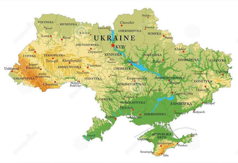 Cartina Geografica Russia Ucraina.Cartina Geografica Della Ucraina Mappa Carta Map Of Ukraine