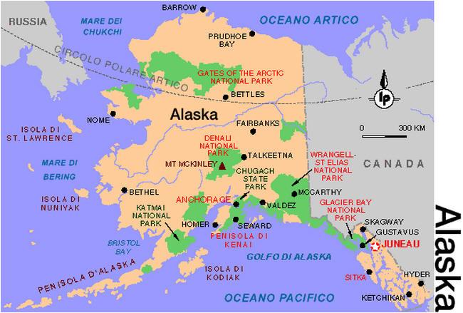 Canada Cartina Fisica.Cartina Geografica Dell Alaska Mappa Carta Map Of Alaska