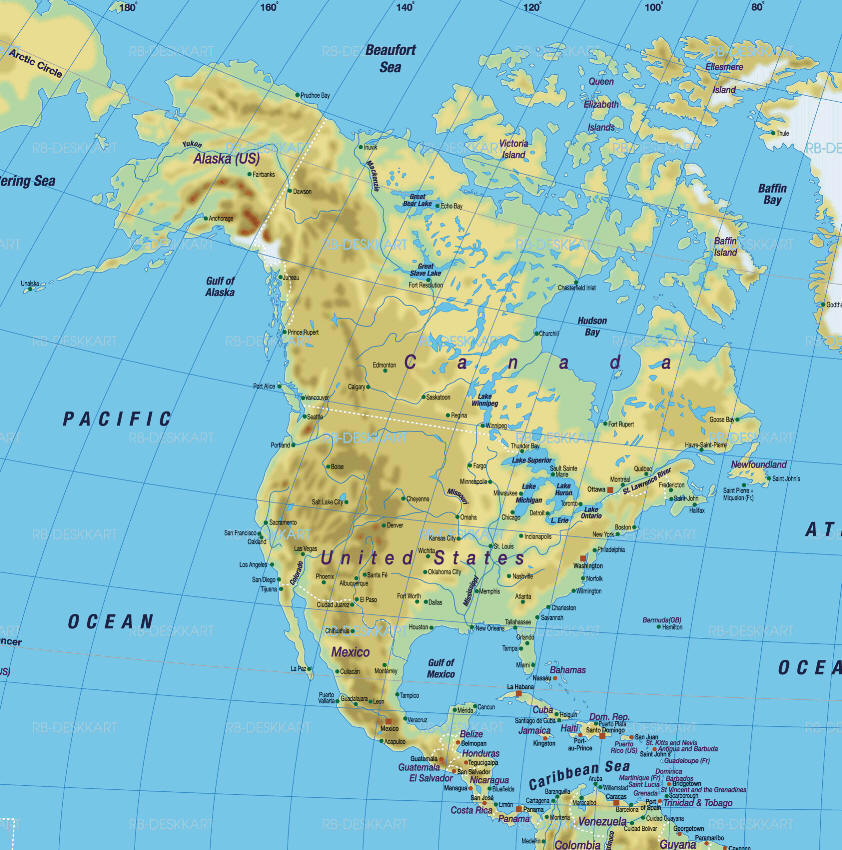 America Nord Cartina Fisica.Cartina Geografica America Settentrionale Nord Map North