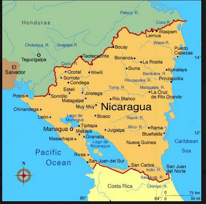 Cartina Geografica Nicaragua.Cartina Geografica Del Nicaragua Carta O Mappa