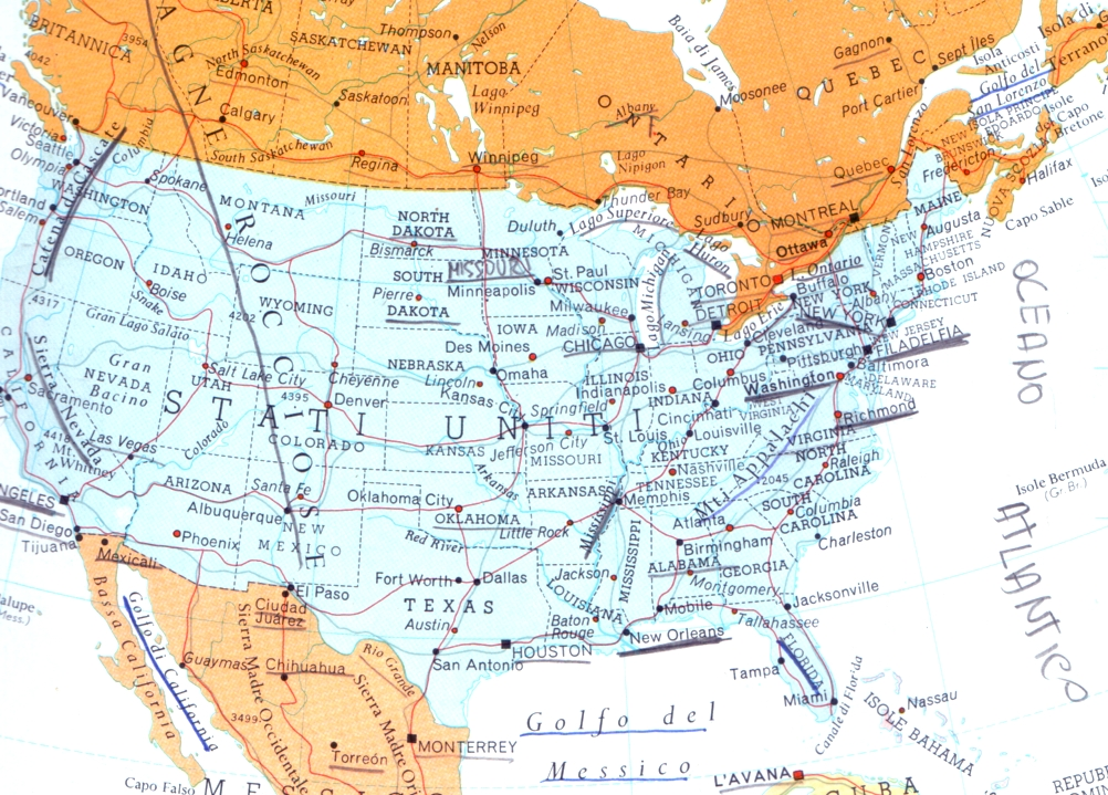 Cartina Geografica Degli Stati Uniti Di America.Cartina Geografica Mappa Stati Uniti D America