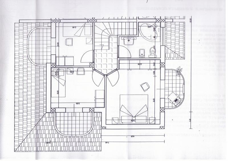 Planimetria primo piano villa sul mare con piscina campo for Piani di casa di villa spagnola