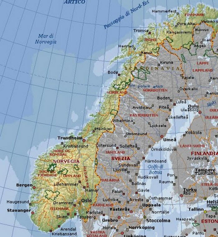 Cartina Della Norvegia.Cartina Geografica Della Norvegia Mappa O Carta Map Of Norway